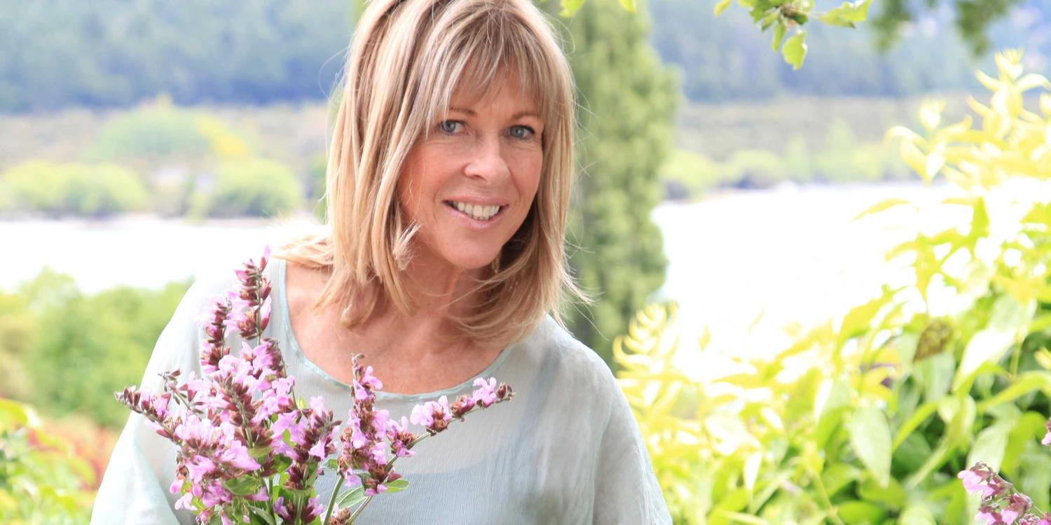 Annabel Langbein picking pink flowers at Wanaka