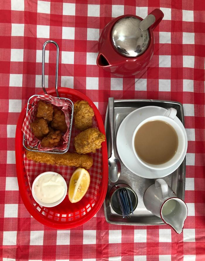 Salt and pepper squid on a checkered tablecloth