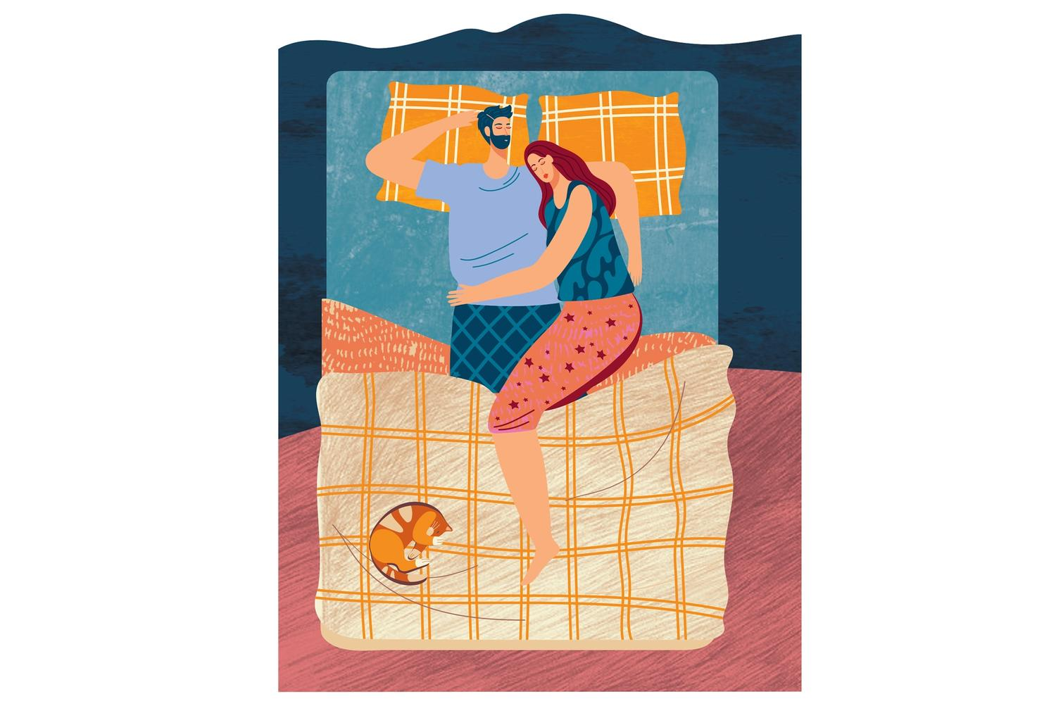 Illustration of couple sleeping in bed