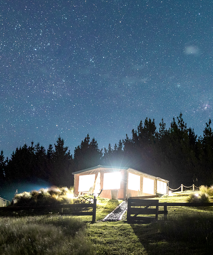 Glamping tent at night in Hurunui