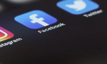 Social media icons on phone