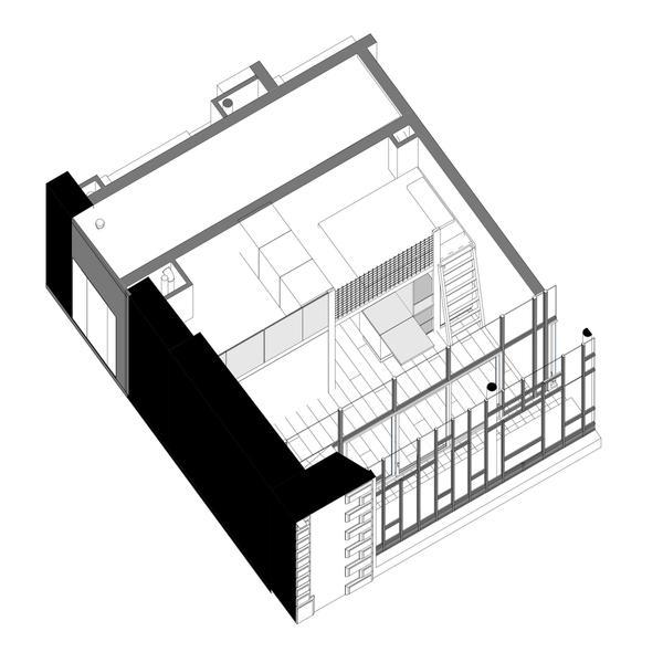 SOUFFLE - Elévation d'un studio type - avec Mezzanine