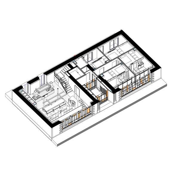 SOUFFLE - Pan RDC - Salon, Cuisine, 4 appartements