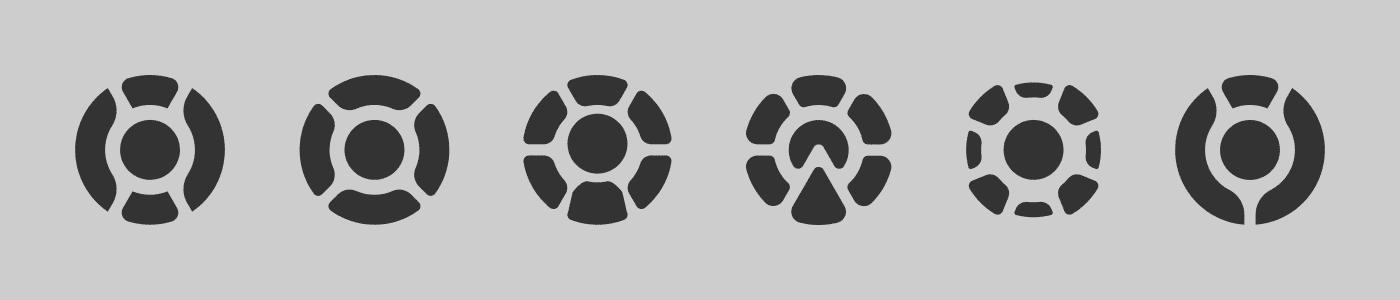 Six radial logo concepts.