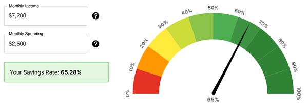 Savings rate calculator screenshot