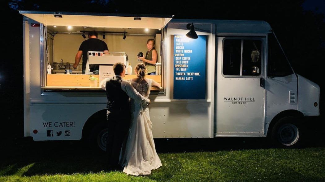 the coffee truck at a wedding party