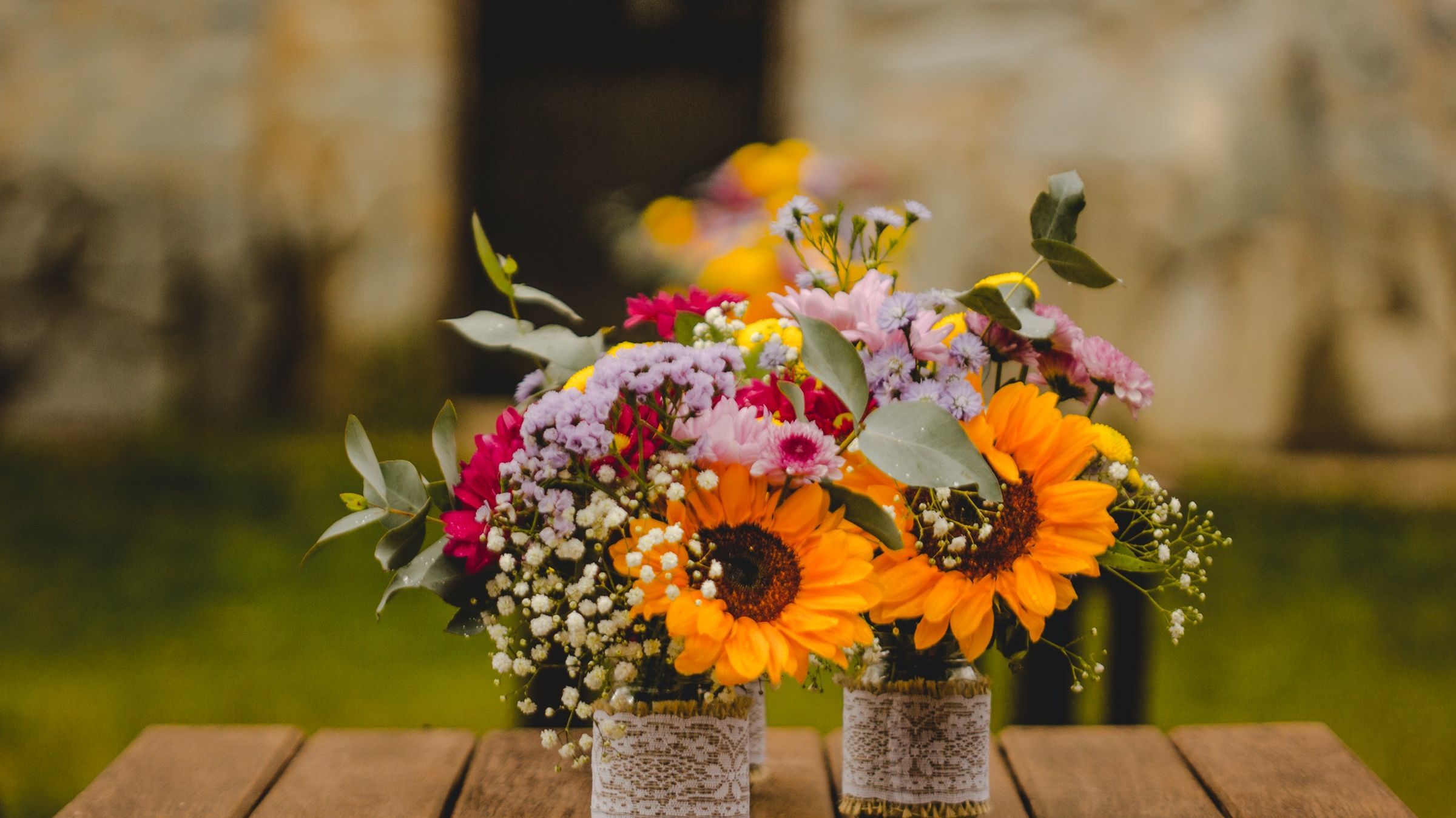 fresh flowers on a wood table