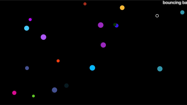 Screen capture of MDN bouncing balls tutorial