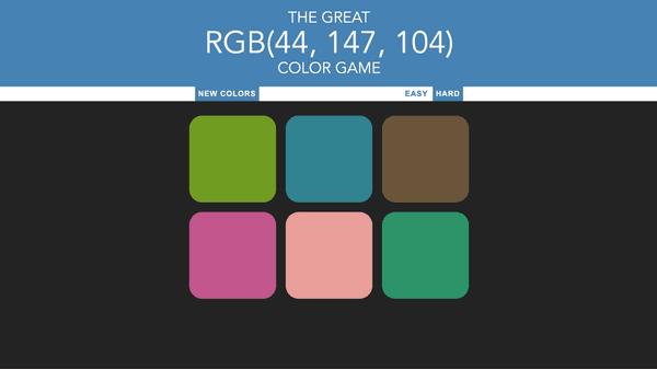 Screen capture of color picker game