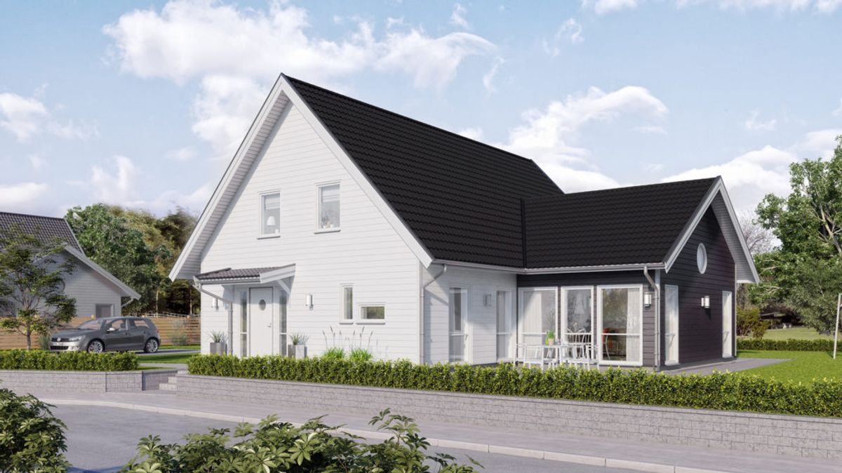 Hustypen Näktergalen fra Fiskarhedenvillan er et halvannen etasjes hus med moderne utforming.
