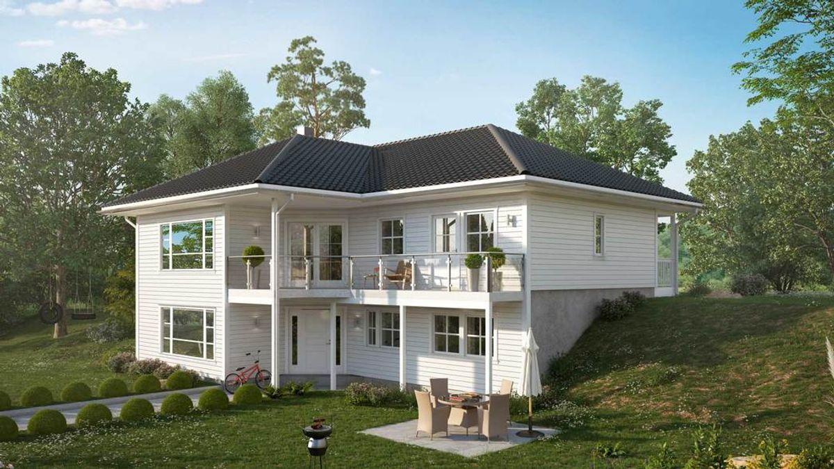 Hustypen Stensli er et stort og vakkert vinkelhus med valmtak for skrå tomt.