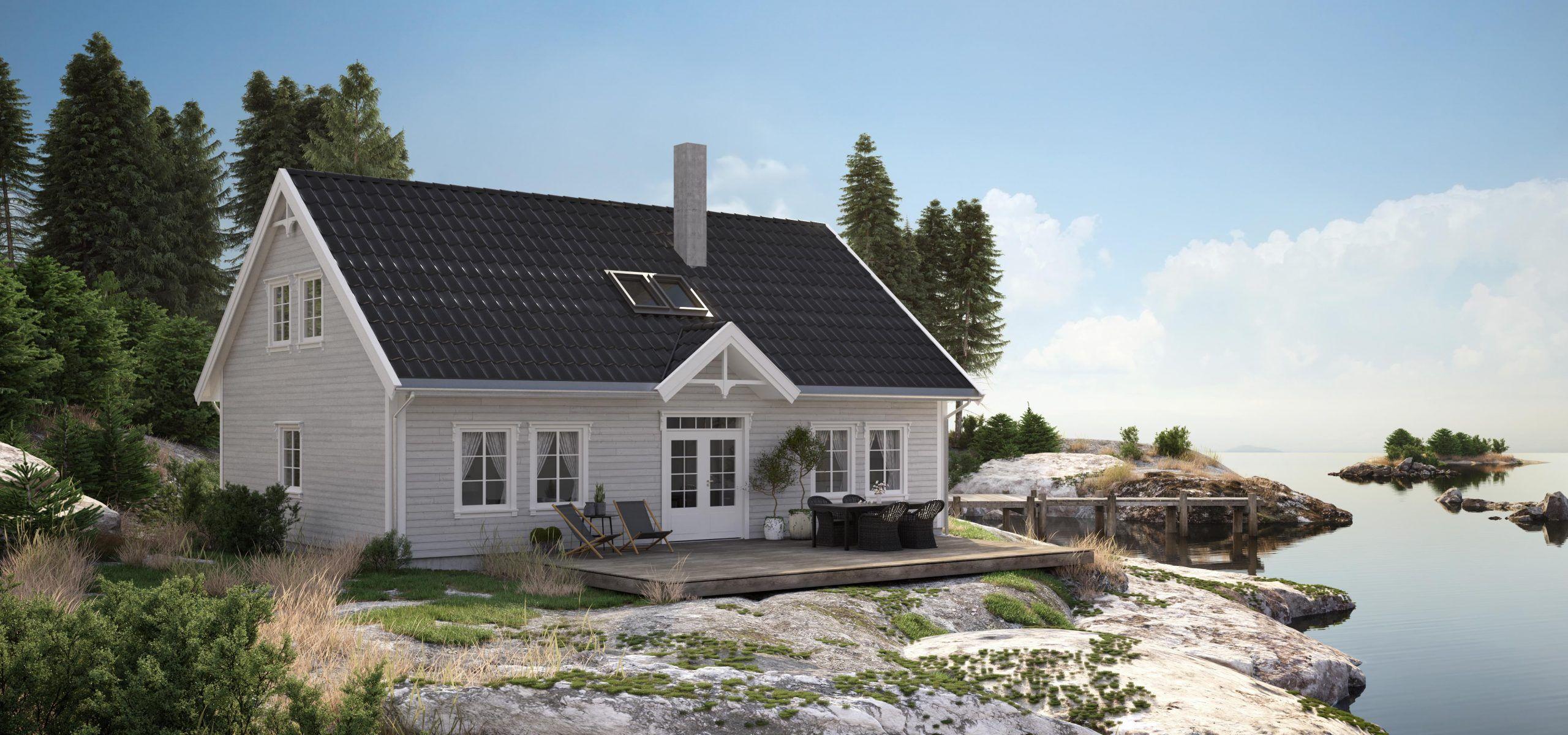 Husmodell Paradis fra Hellvik Hus er et tradisjonelt hus med 5 soverom.