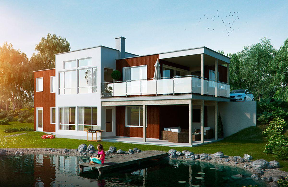 Hustypen Cortina fra Blå Bolig er et moderne, praktisk og romslig hus som passer for skrå tomter.