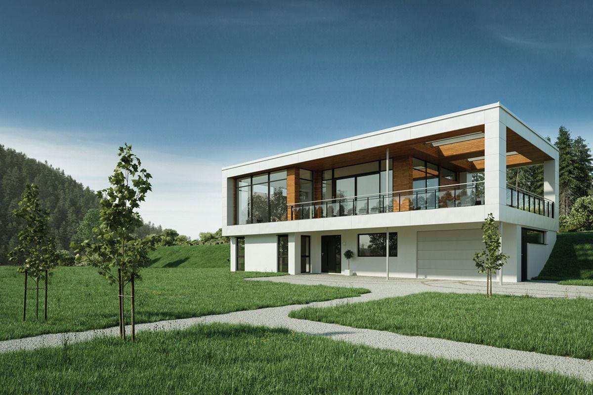 Hustypen Kniven fra Vestlandshus har store vindusflater og stort overbygd uterom, til glede for de som er glade i å leve livet både innendørs og utendørs.