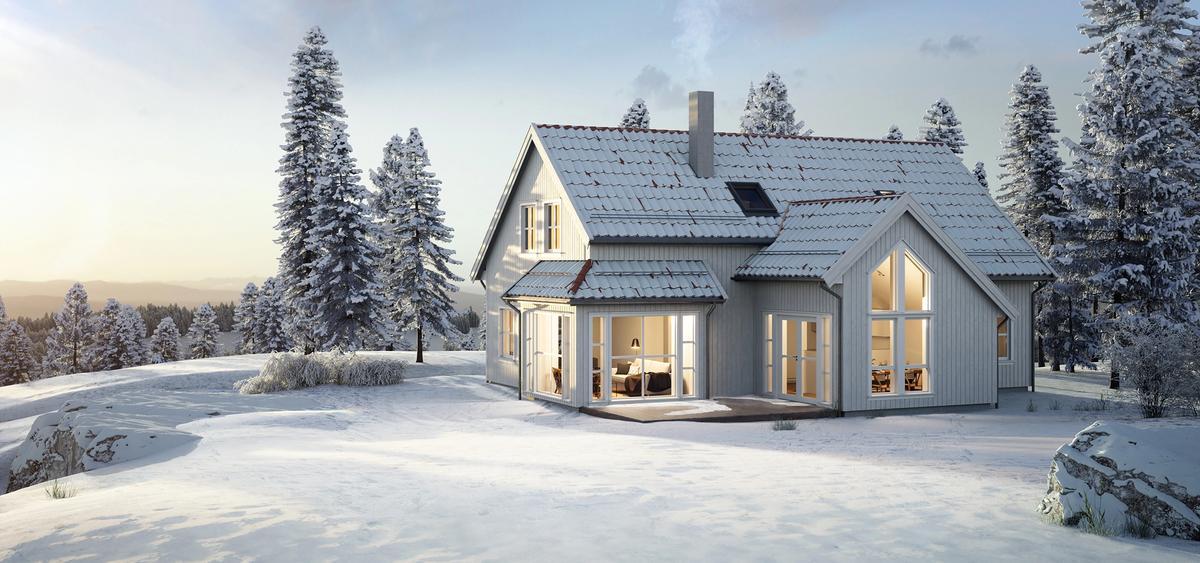 Husmodell Peiskos fra Hellvik Hus er et tradisjonelt hus med moderne preg.