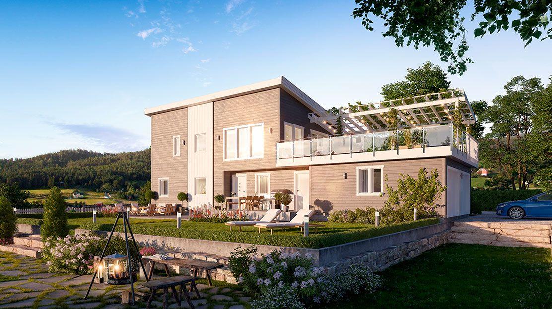 Hustypen Lyra fra Hedalm Anebyhus er et stilfullt og moderne hus med dobbelgarasje og enorm balkong med delvis pergola.