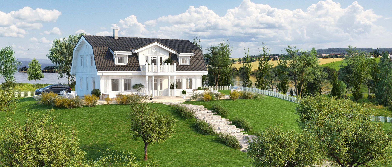 Husmodellen Almgaard fra BoligPartner er et herskapelig hus med klassisk fasade.