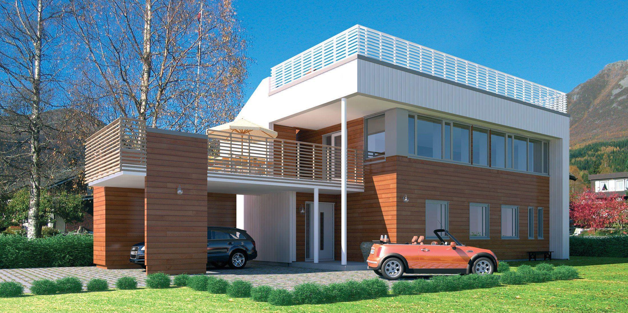Hustypen Celsius fra Systemhus er et passivhus med takterrasse