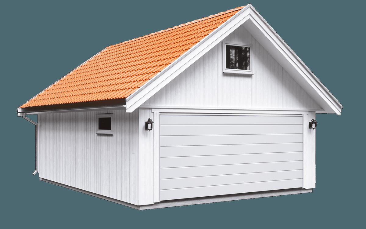 Dobbeltgarasje med rødt tak fra Husgarasjene AS