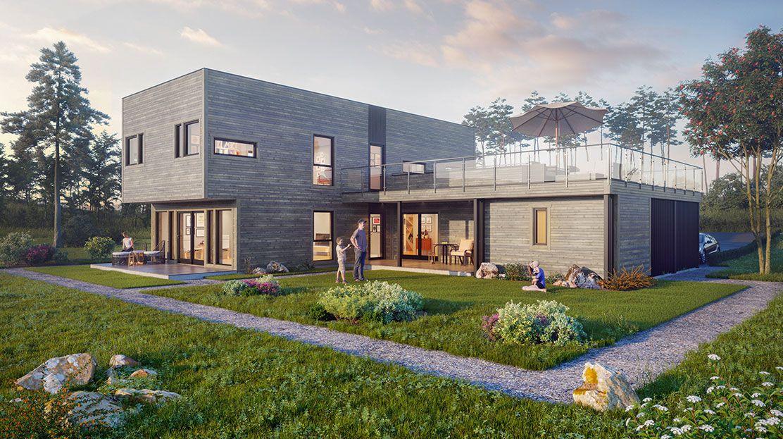 Hustypen Aksellia fra Hedalm Anebyhus er et svært romslig hus med moderne funkispreg og mange utganger til fine uteplasser.