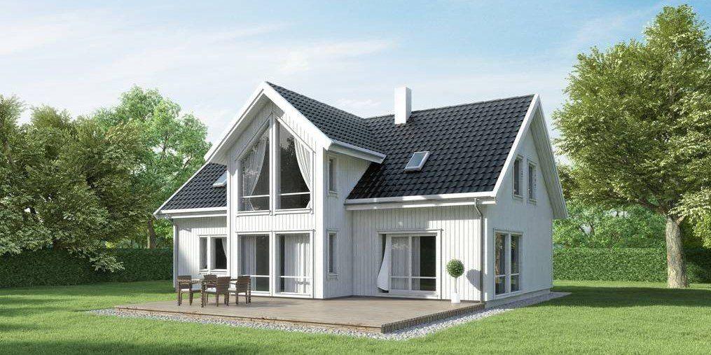 Hustypen Sande fra Systemhus kombinerer det klassiske og det moderne ved bruk av store glassflater og åpne løsninger