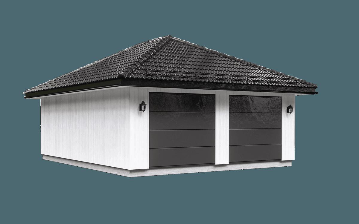 Dobbeltgarasje med sort tak fra Husgarasjene AS