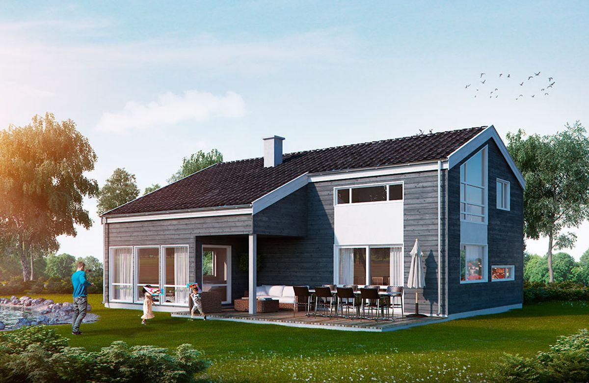 Hustypen Veneto fra Blå Bolig har svært mange vinduer, noe som gjør huset lyst og trivelig.