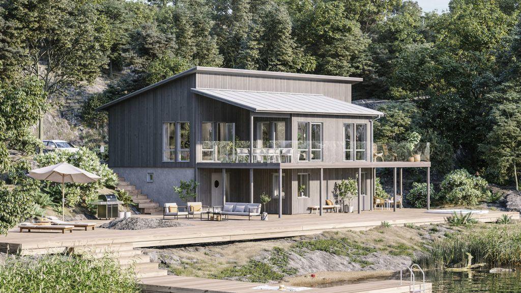 Hustypen Onyxen fra Fiskarhedenvillan er et stilrent hus med moderne karakter og er tilpasset skrå tomt.