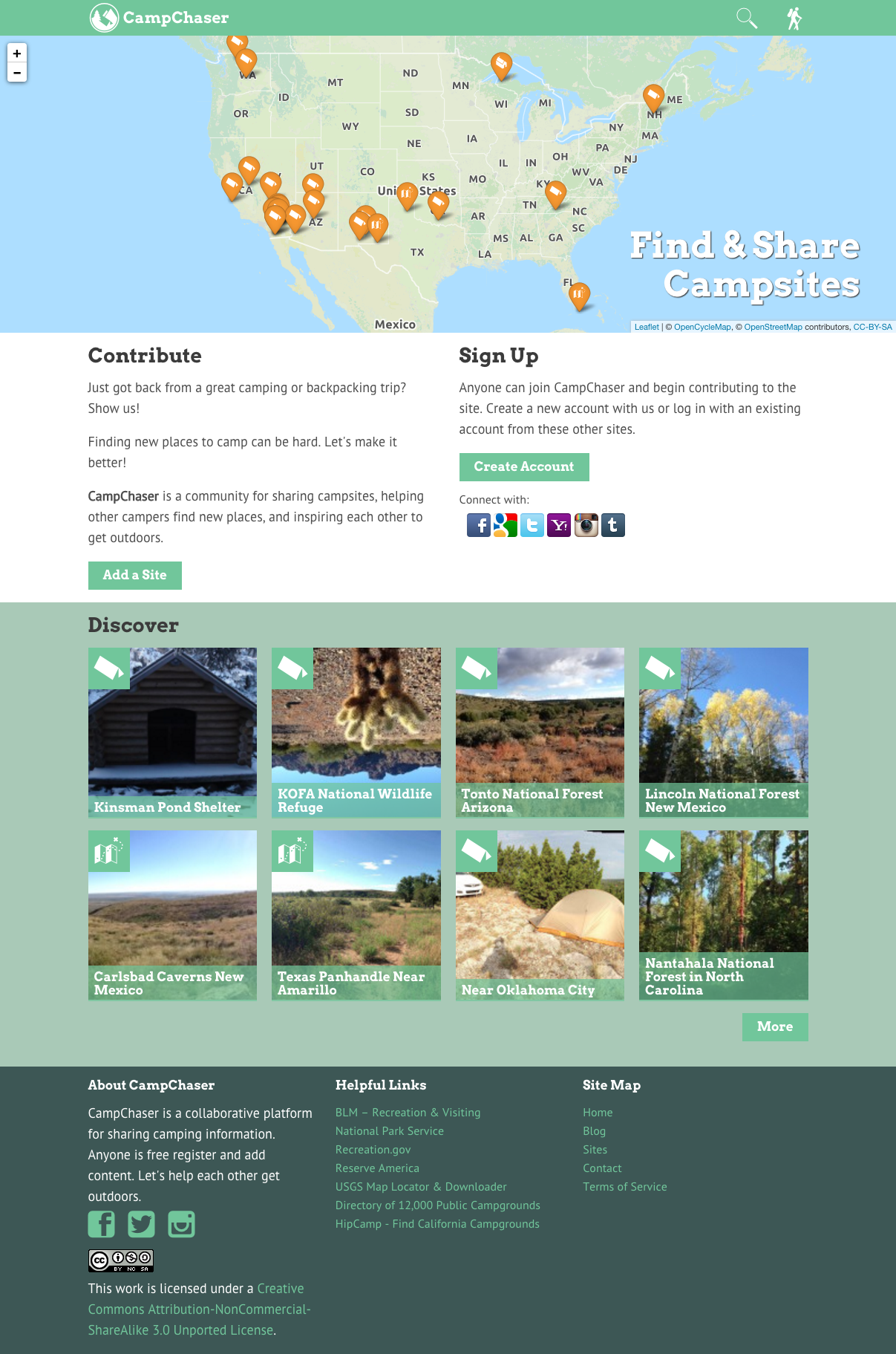 Screenshot of the old CampChaser homepage