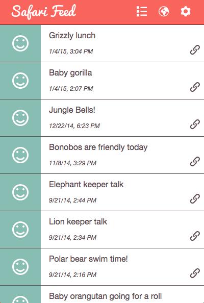 Screenshot showing SafariFeed list view