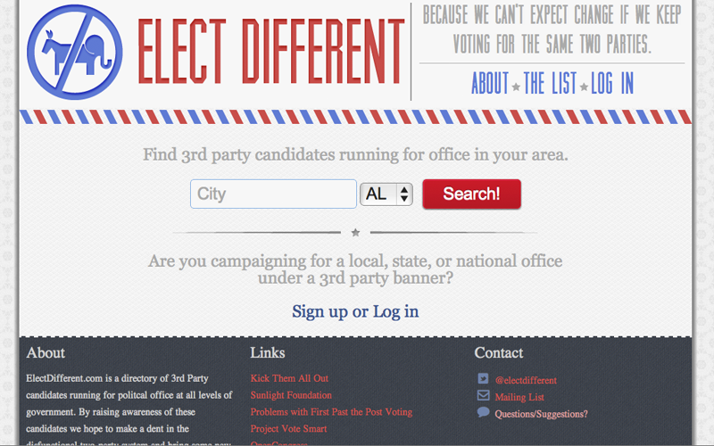 Screenshot from my ElectDifferent.com site