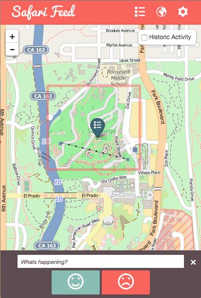 Screenshot showing SafariFeed map view
