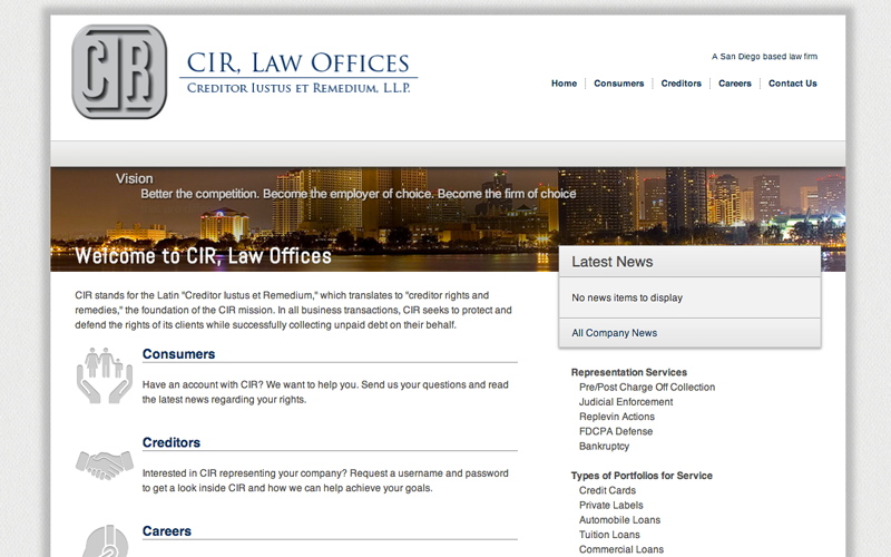 Screenshot of CIR Law website I helped build.