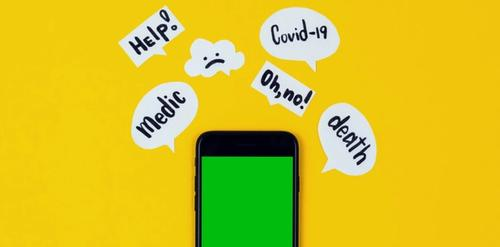 A phone with several thought bubbles expressing feelings of concern