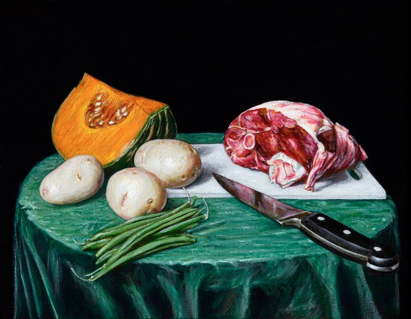 Still Life with Roast Lamb and Vegetables