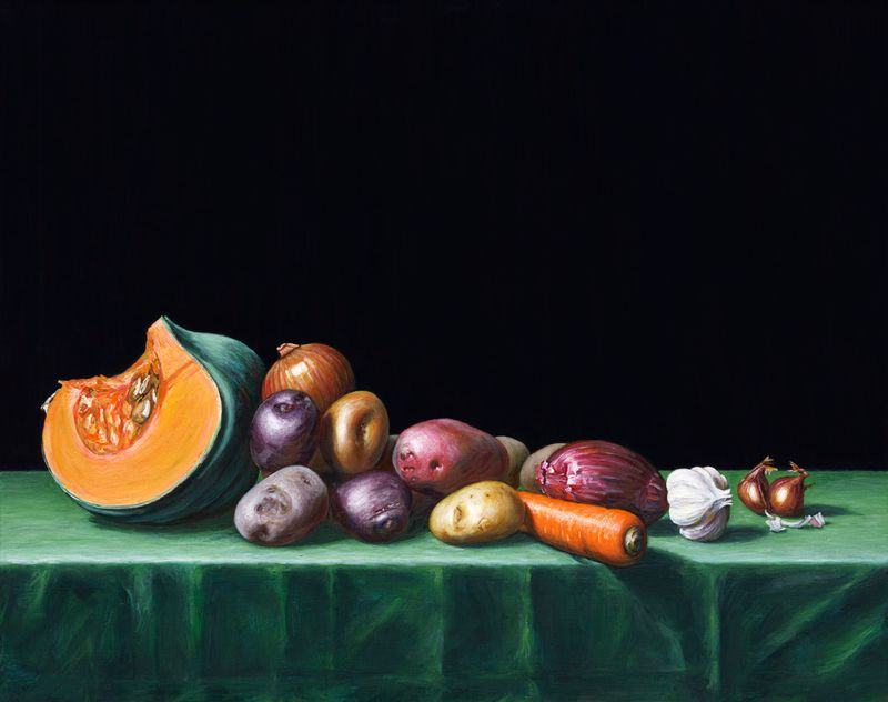 Still Life with Pumpkin, Potatoes, Onions, Carrot, Garlic and Shallots