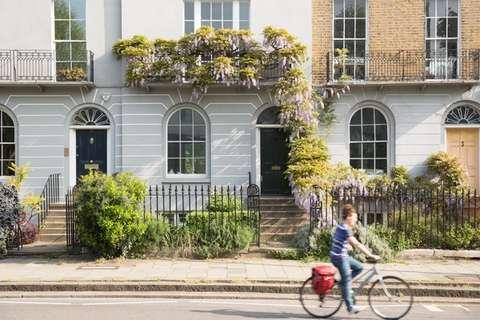Lady on bike in London