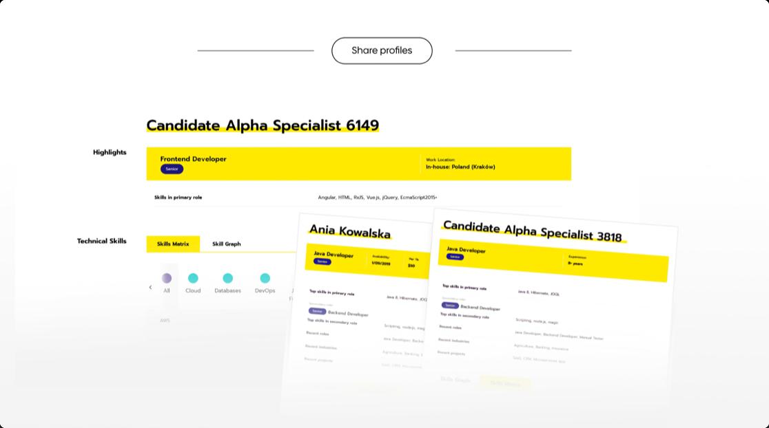 Talent Alpha Platform screens