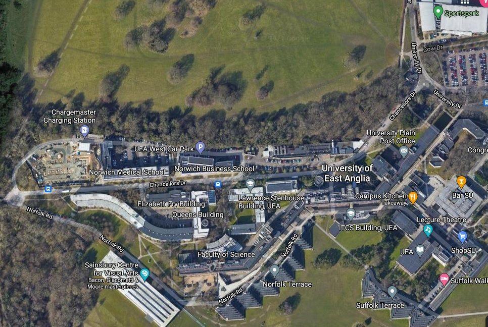 Centre location - aerial view