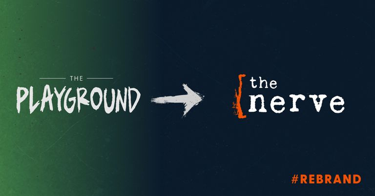 The old Playground Theatre logo pointing to the new Nerve logo, indicating a rebrand