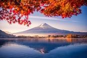 monte fuji innevato in autunno