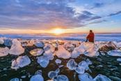 jokulsarlon ghiacciaio al tramonto