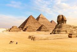 Piani di Giza e Sfinge in Egitto