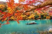lago della foresta di bamboo di arashiyama