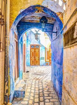 strade di tunisi colorate di blu
