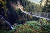 Ponte tibetano Val di Rabbi sopra cascata