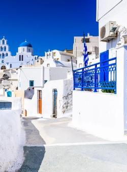 Case bianche e blu di Santorini