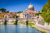 Vista panoramica su Roma dal Tevere