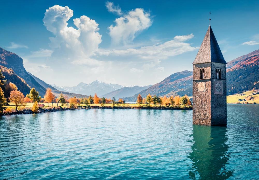 campanile di curon nel lago di resia