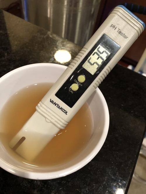 A pH sample measuring 5.35